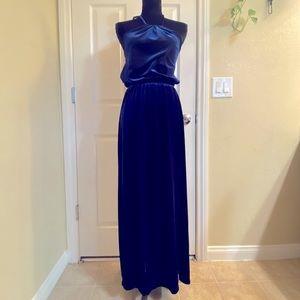 NEW Crimson & Clover Blue Velvet Halter Maxi Dress